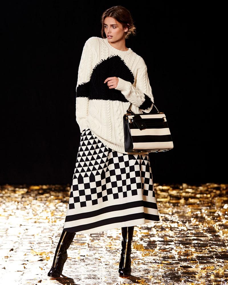 Valentino Aran Cashmere-Blend Triangle Intarsia Knit Sweater