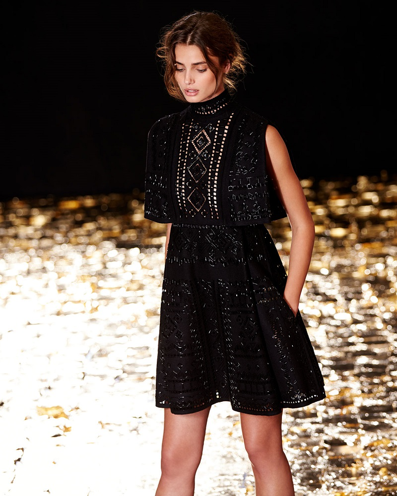Valentino Beaded Punchwork Layered Dress