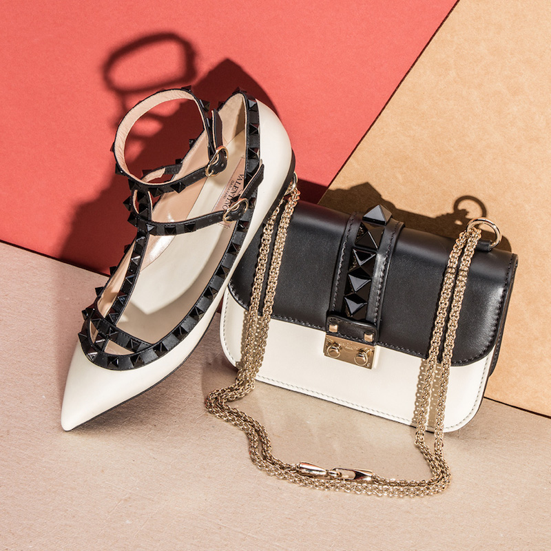 Valentino Color Block Rockstud Leather Cage Flats