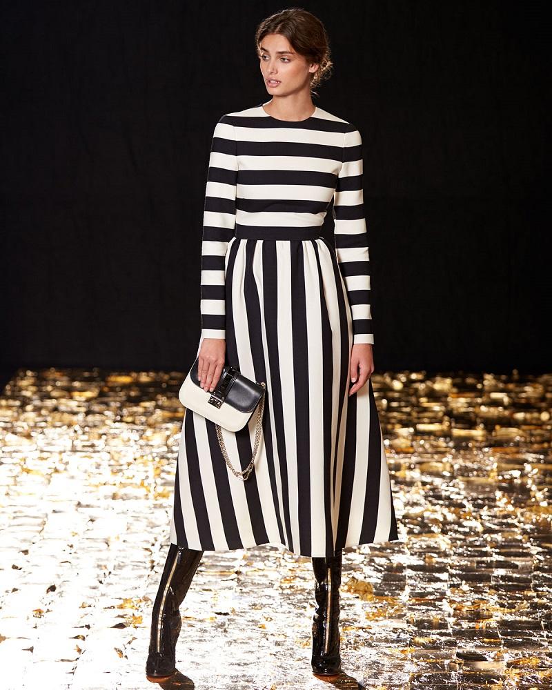 Valentino Long-Sleeve Jewel-Neck Large-Striped Dress