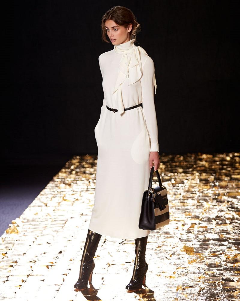 Valentino Long-Sleeve Tie-Neck Midi Dress