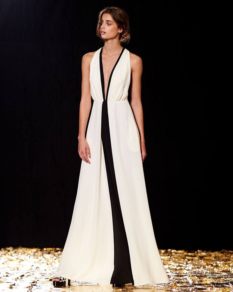 Valentino Plunging Colorblock Racerback Gown