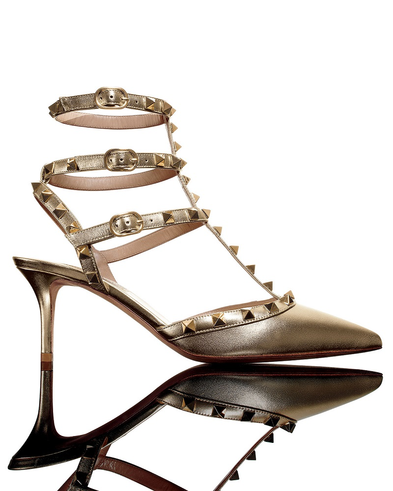 Valentino Rockstud Metallic Leather Mid-Heel Pump