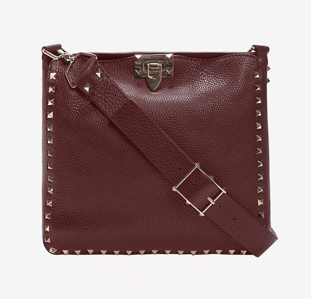 Valentino Rockstud Small Pebbled Leather Messenger