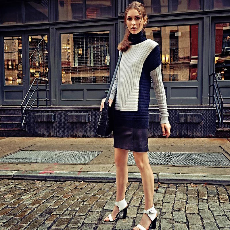 Vince Colorblock Intarsia Wool Cashmere Sweater
