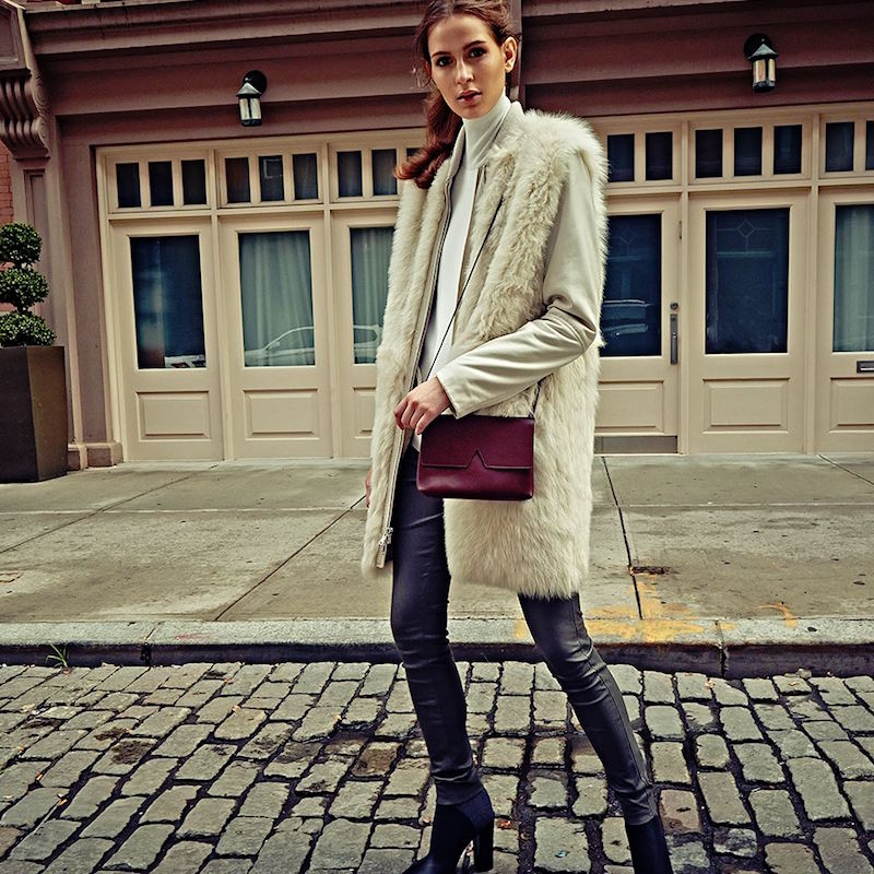 Vince Long Leather & Fur Coat