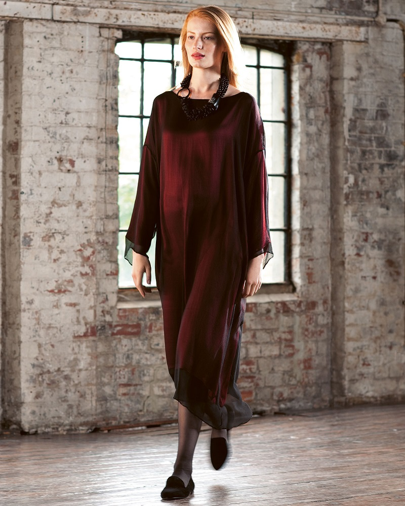 eskandar Chiffon Overlay Tunic Dress