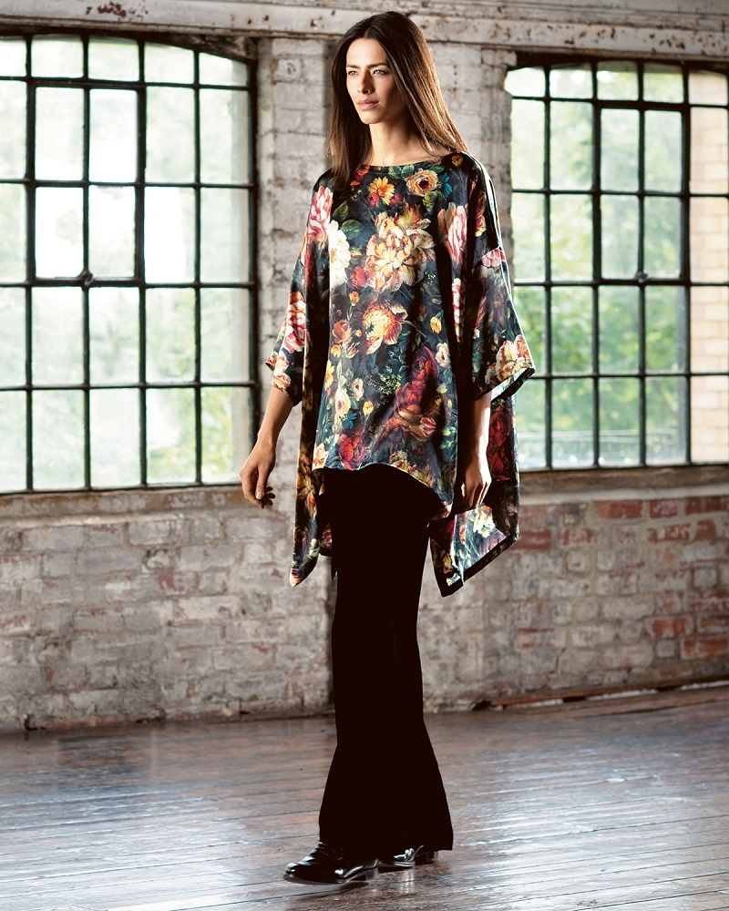 eskandar Oil Paint Floral-Print Draped Top