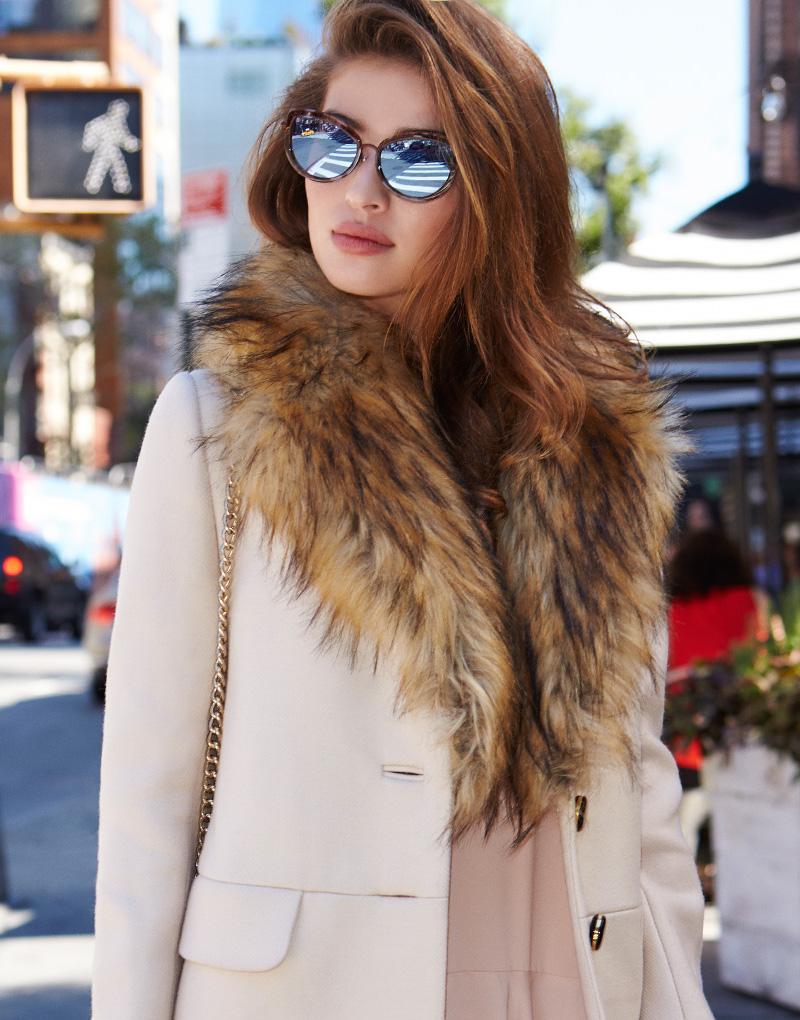 kate spade new york Faux Fur Collar Dresscoat