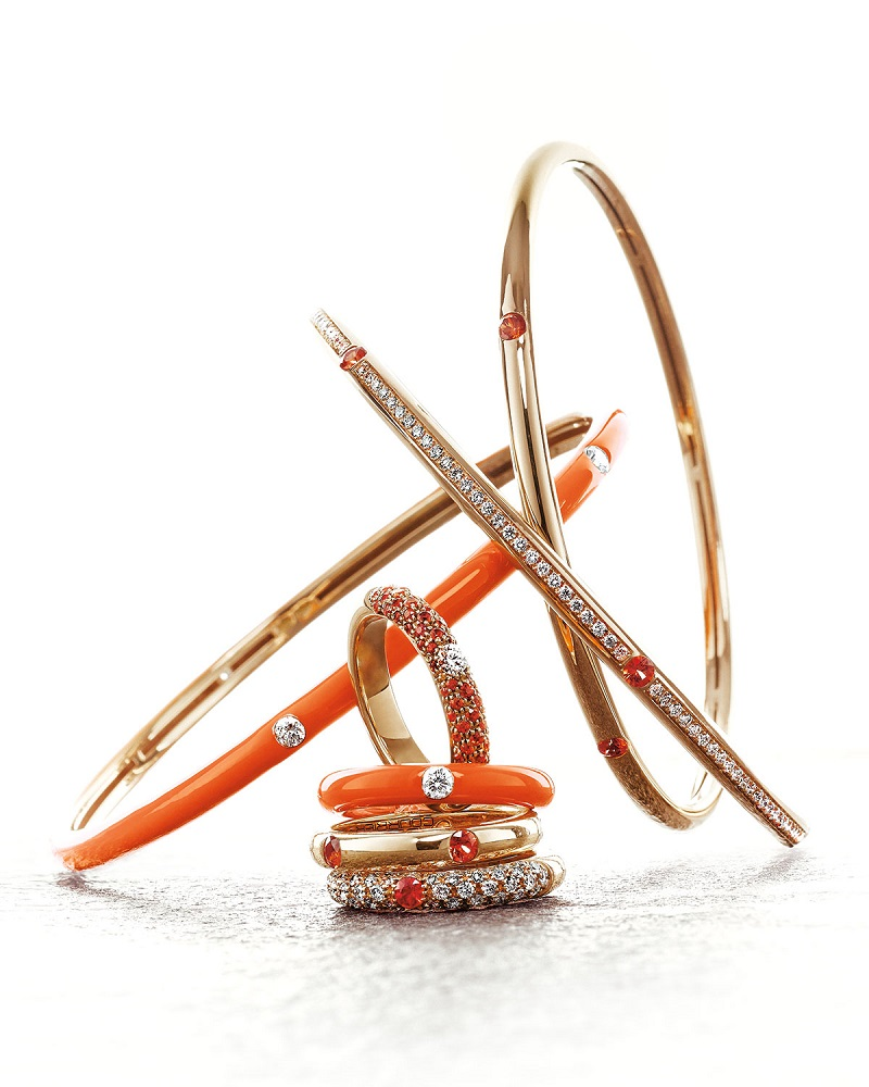 Adolfo Courrier Pop Collection Orange and Diamond Band Ring