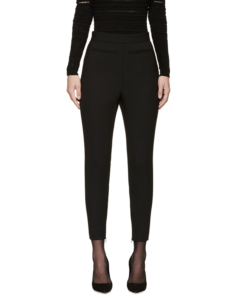 Alexander McQueen Black High-Waisted Wool Trousers