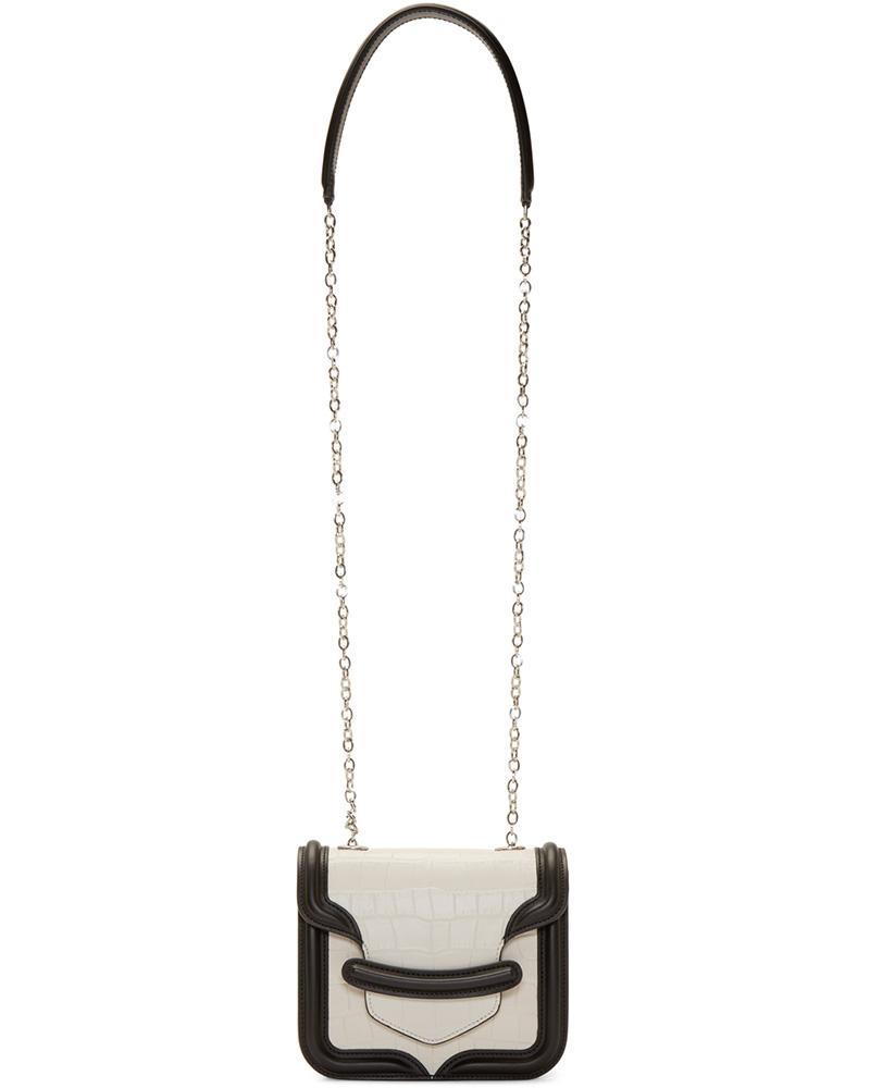 Alexander McQueen Black & White Croc Heroine Mini Satchel