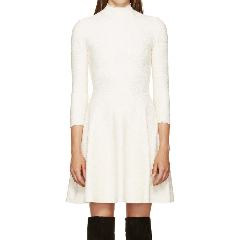 Alexander McQueen White Lace A-Line Dress_1