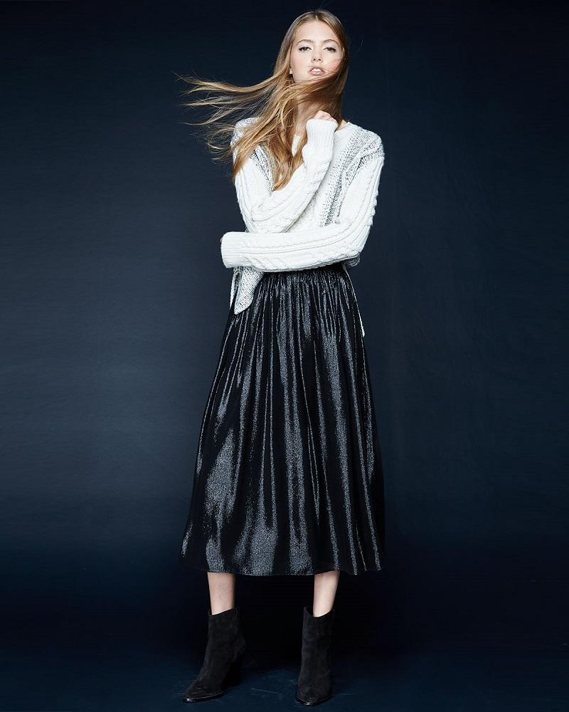 Alice + Olivia Rosemarie Silk-Blend Midi Skirt