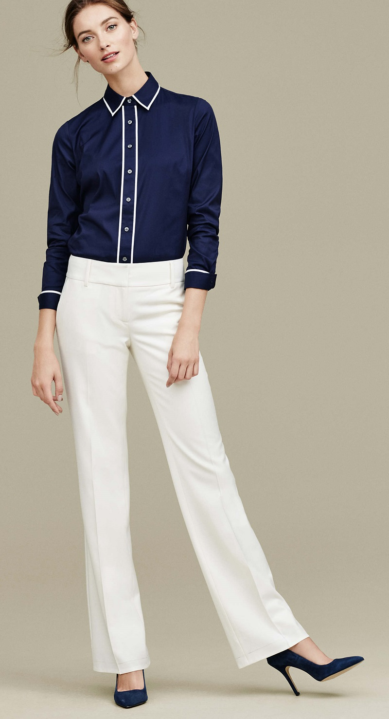 Ann Taylor Contrast Tipped Perfect Shirt
