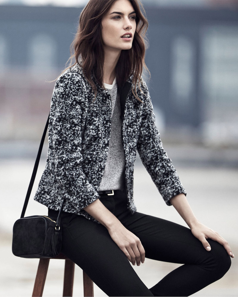 Ann Taylor Marled Wool Blend Cropped Jacket