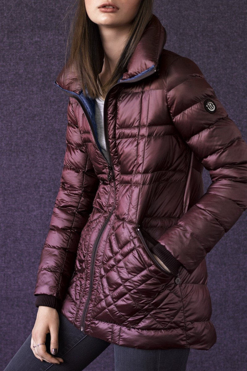 Bernardo Glossy Packable Mixed Quilted Jacket with Down & PrimaLoft Fill