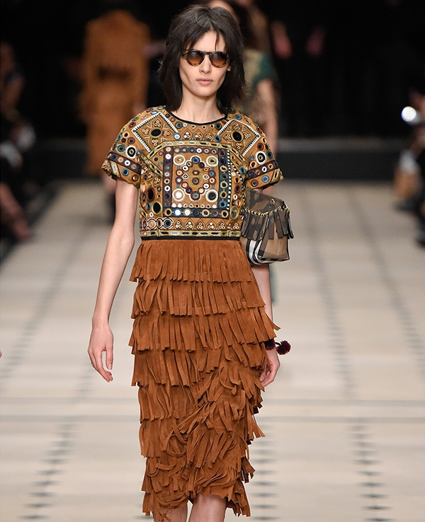 Burberry Prorsum Embellished fringed suede dress