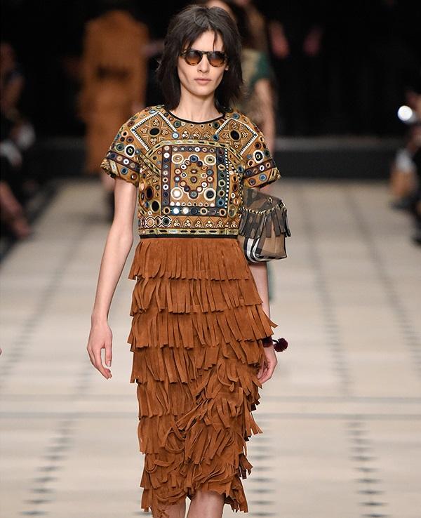 Burberry Prorsum Embellished fringed suede dress