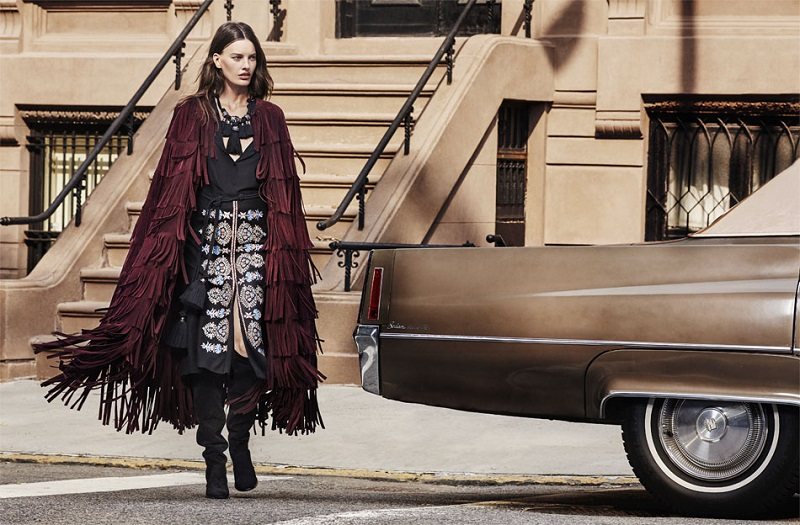 Burberry Prorsum Fringed suede cape