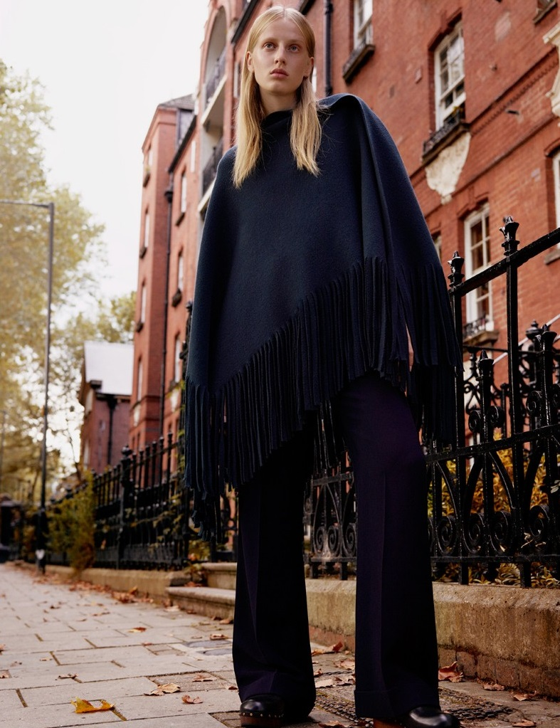 Burberry Prorsum Fringed wool and cashmere-blend poncho