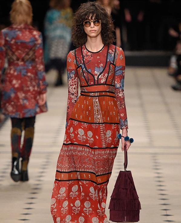 Burberry Prorsum Patchwork long-sleeved silk dress