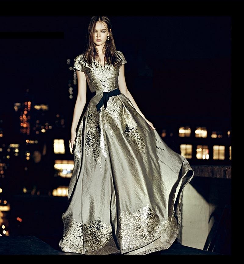 Carolina Herrera Westeria Metallic Jacquard Gown-