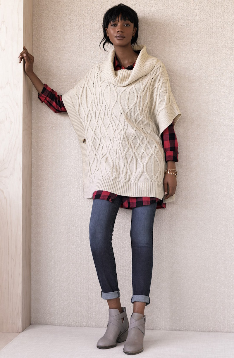 Caslon Cowl Neck Cable Knit Sweater