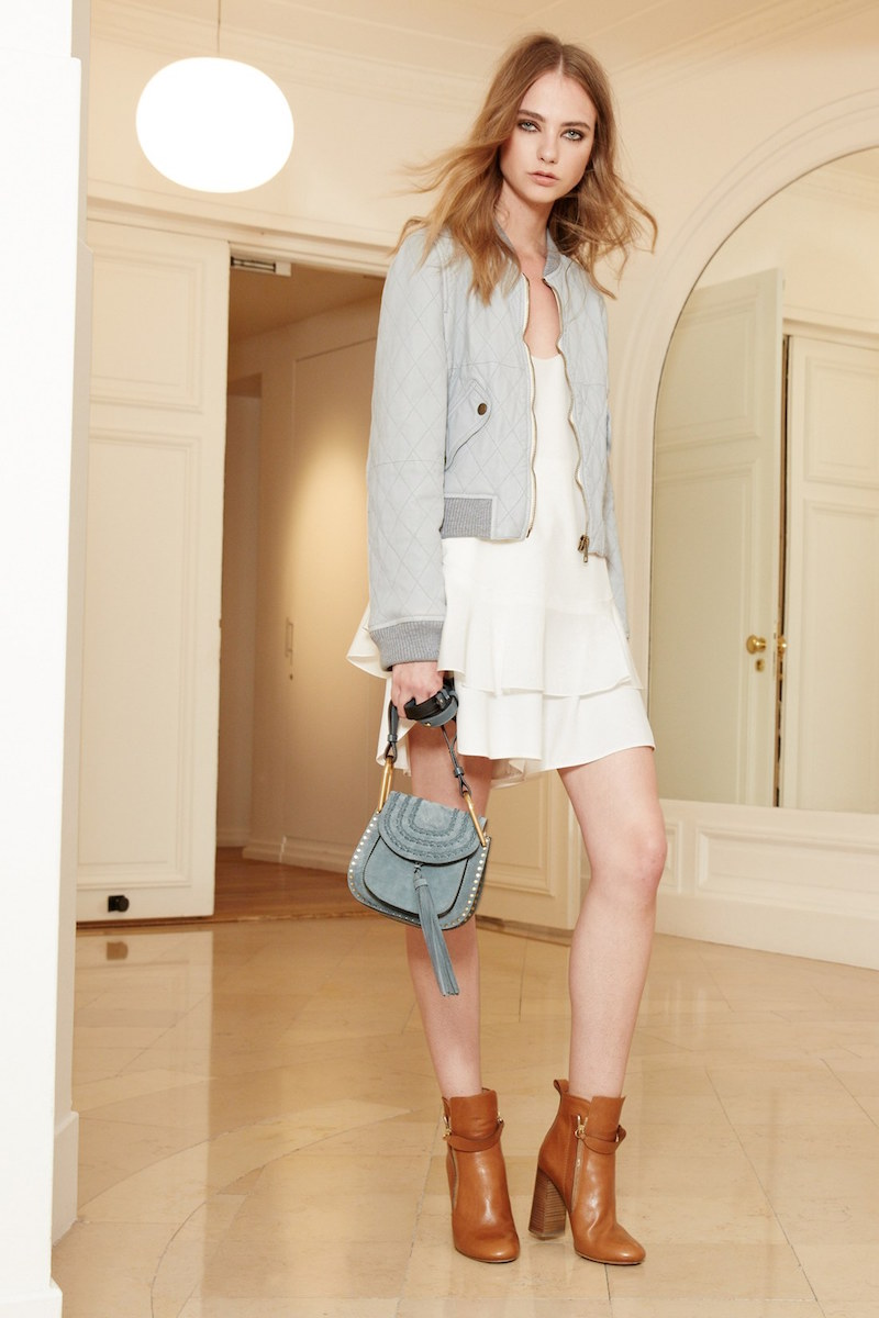 Chloé Double Washed Lambskin Leather Bomber Jacket