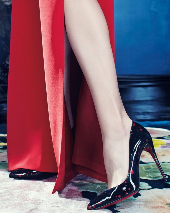 Christian Louboutin Pigalle Follies Flecked Red Sole Pump