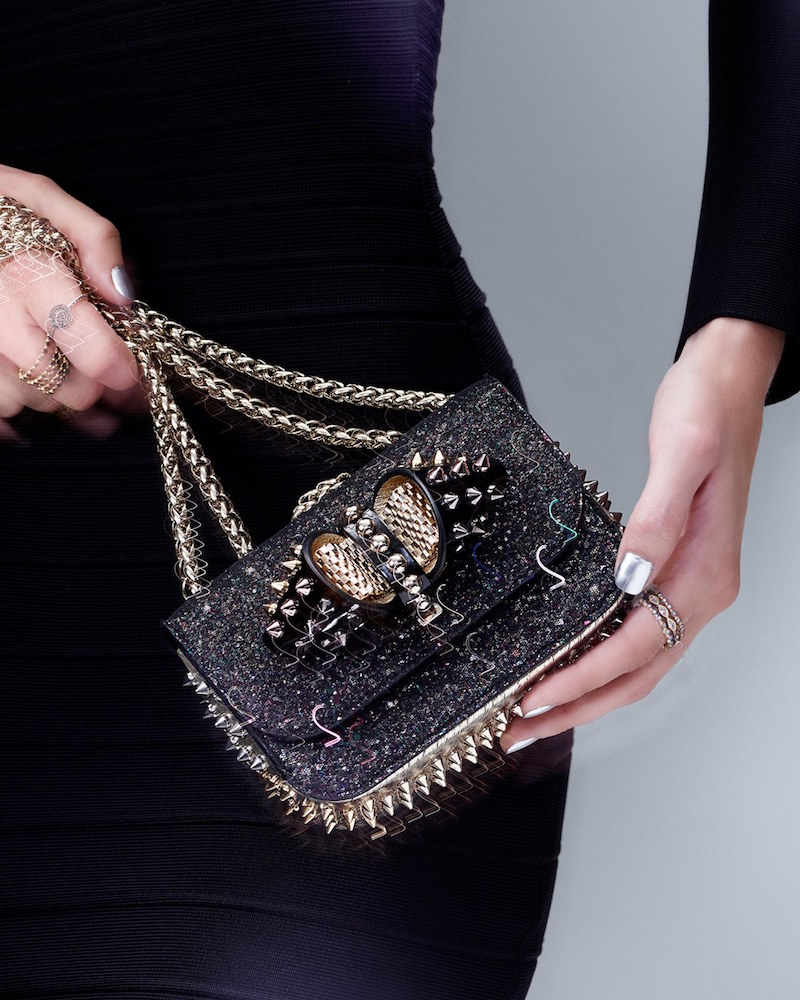 Christian Louboutin Sweet Charity Glitter Spike Shoulder Bag