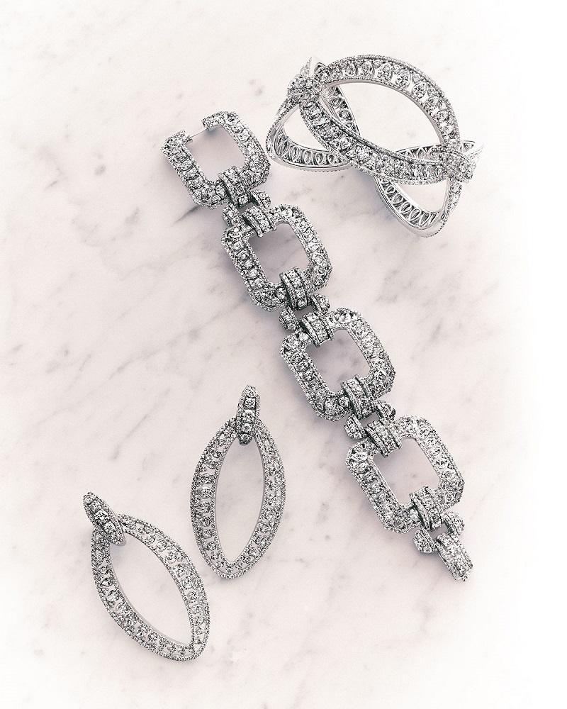 Crivelli 18k White Gold Marquise Link Diamond Bracelet