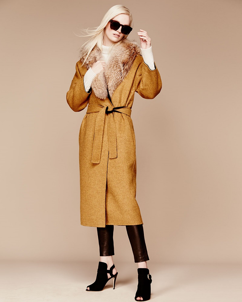 Derek Lam 10 Crosby Drop-Shoulder Trench Coat with Fur Collar