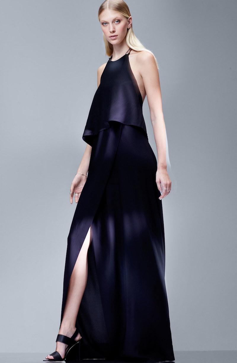 Donna Karan Collection Metal Detail Jersey Halter Gown