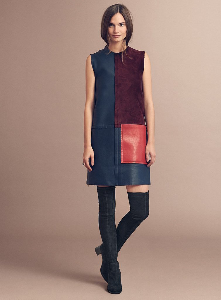 EDUN Leather Colorblock Sleeveless Dress