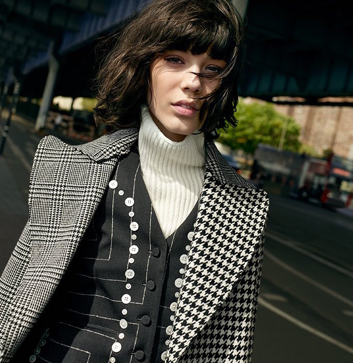 EDUN Square Pinstripe Button Vest