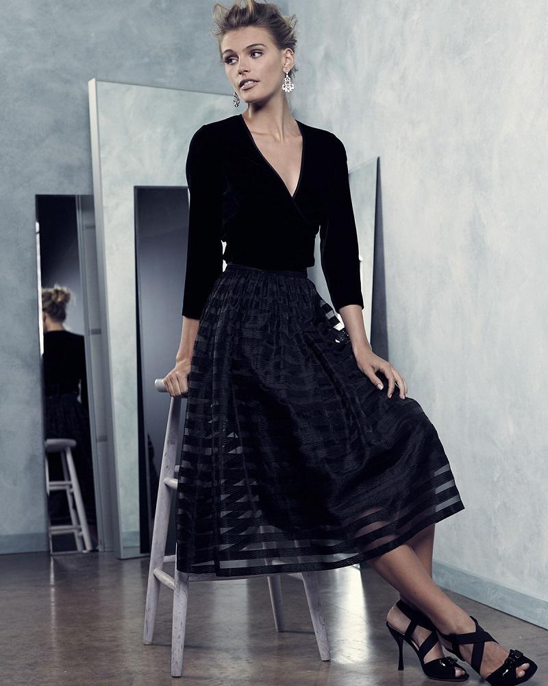 ERIN erin fetherston Quinne Striped Organza Midi Skirt