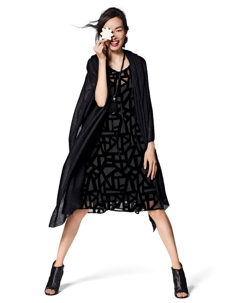 Eileen Fisher Sleeveless Deco Velvet Burnout Knee-Length Dress