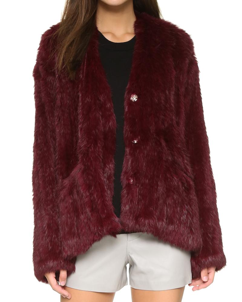 Elizabeth and James Collarless Bianca Fur Jacket_1