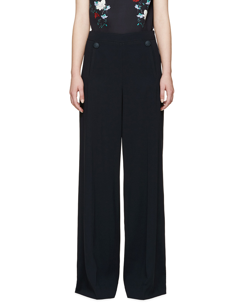 Erdem Blue Crêpe Birdie Sailor Trousers