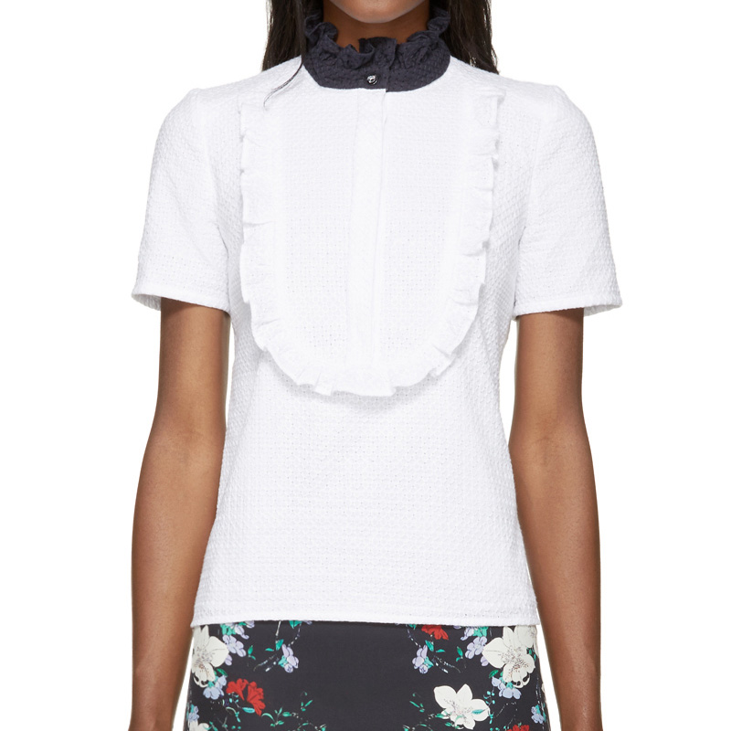 Erdem White & Navy Ruffled Deacon Top