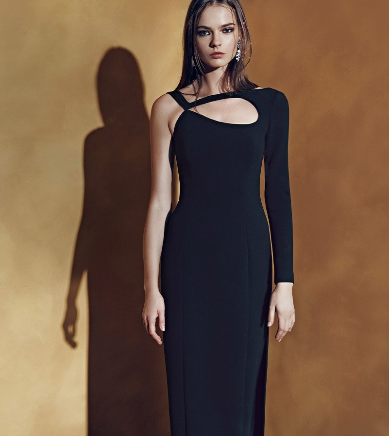 Escada One-Shoulder Cutout Gown