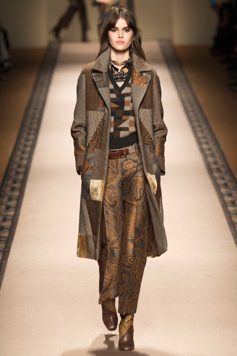 Etro Patchwork Jacquard Fitted Coat