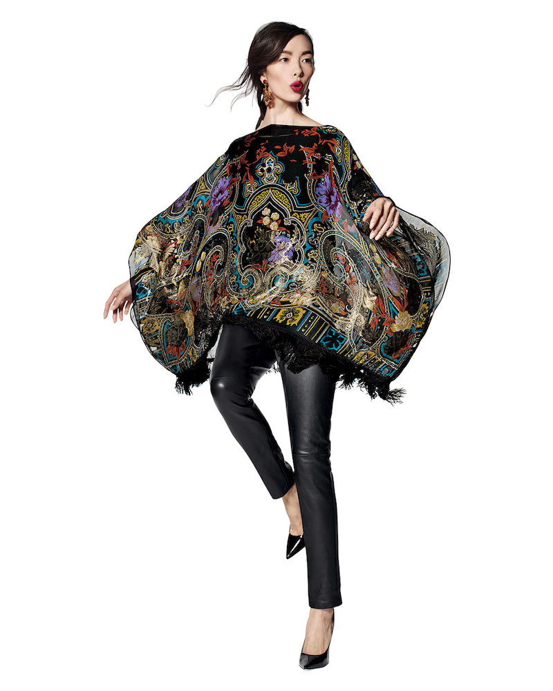Etro Tapestry-Print Poncho with Fringe
