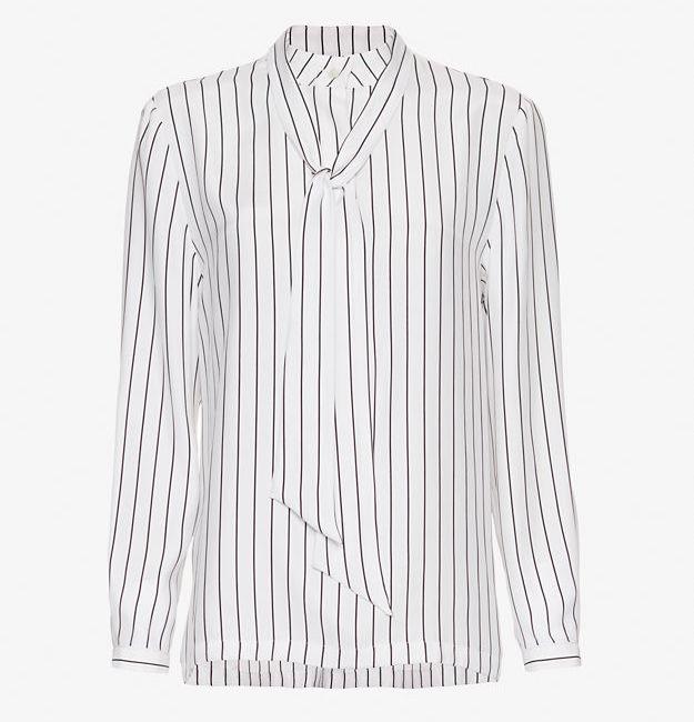 FRAME Neckline Tie Striped Blouse