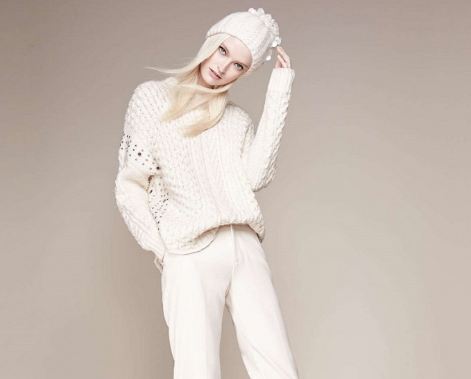 Foundrae Embellished Cable-Knit Sweater -