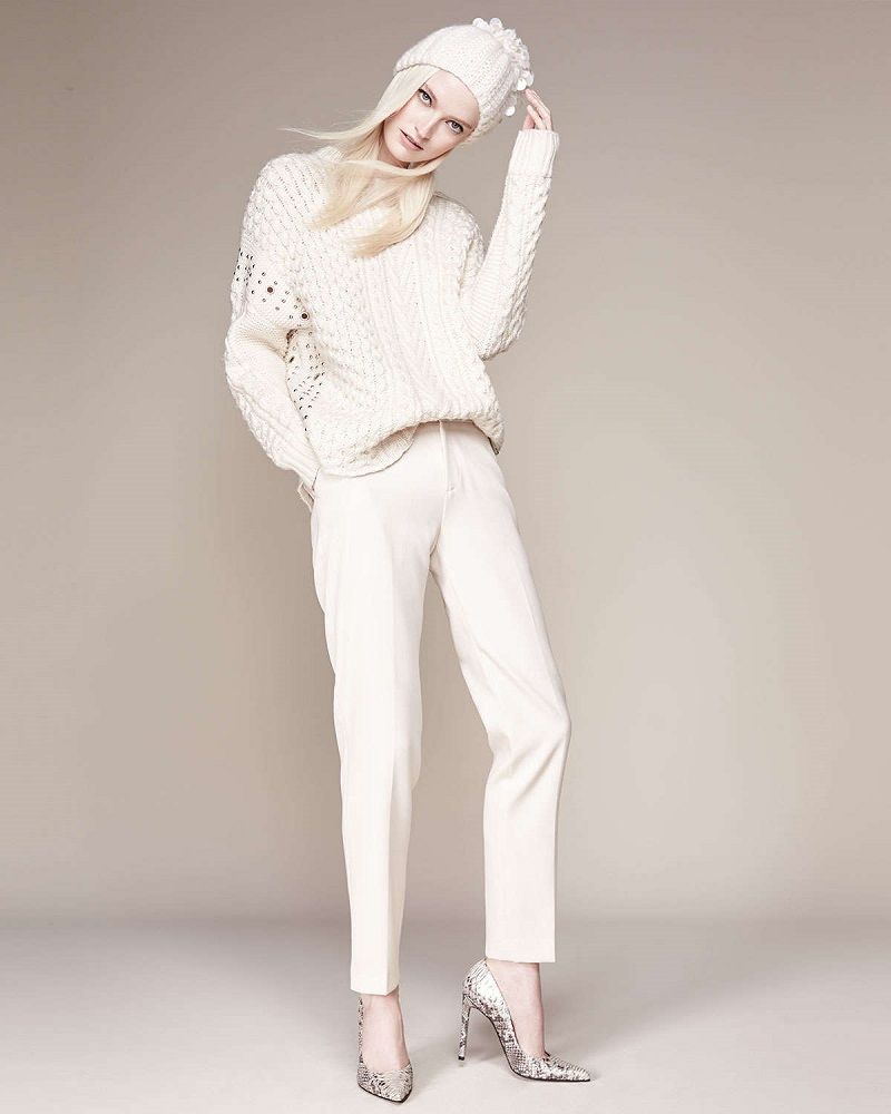 Foundrae Embellished Cable-Knit Sweater