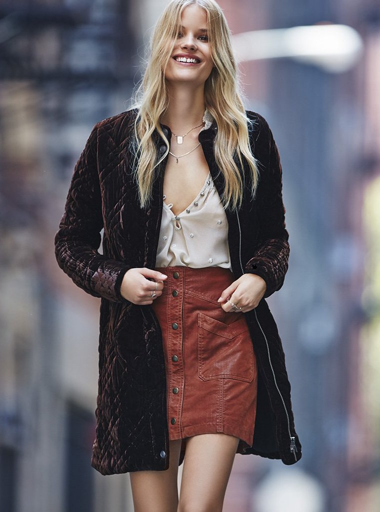 Free People Quilted Velvet Jacket
