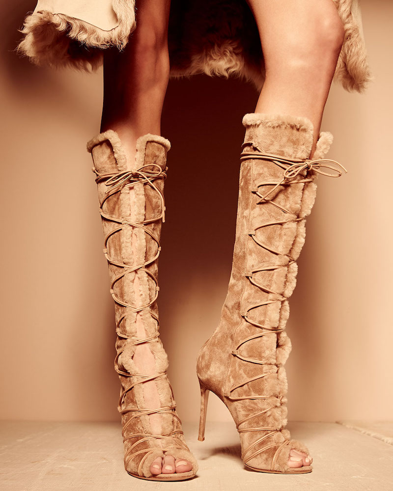 Gianvito Rossi Open-Toe Shearling Fur Lace-Up Boot