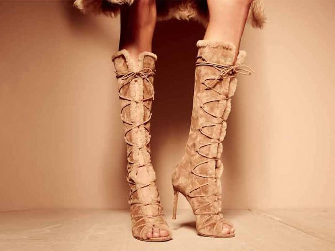 Gianvito Rossi Open-Toe Shearling Fur Lace-Up Boot_1